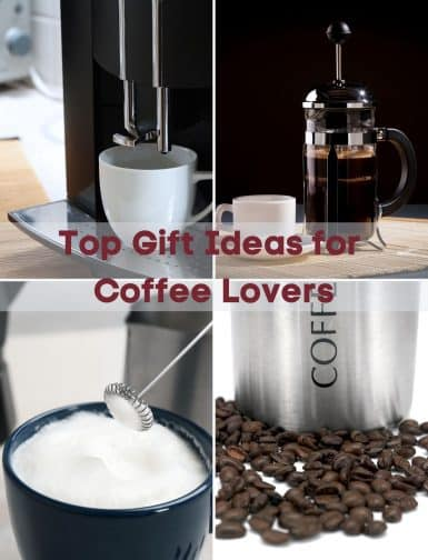 Gifts for coffee lovers during the holidays are always a hit. One of my favorites is the electric milk steamer, its perfect for cappuccinos! Check out this awesome list of coffee essentials to give to your friends and family. #coffee #coffeegiftbasket #coffeebeans #cappuccino #espressomachine #holidaygifts #gifts #christmasgifts #coffeelovers