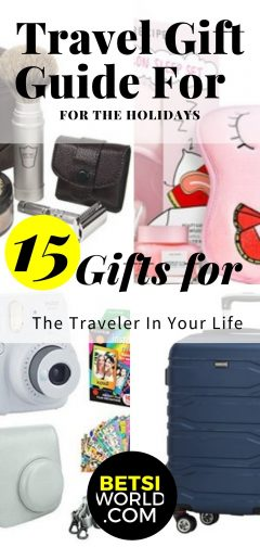 camera, suitcase, facemask, shaving kit, travel gift guide for the holidays