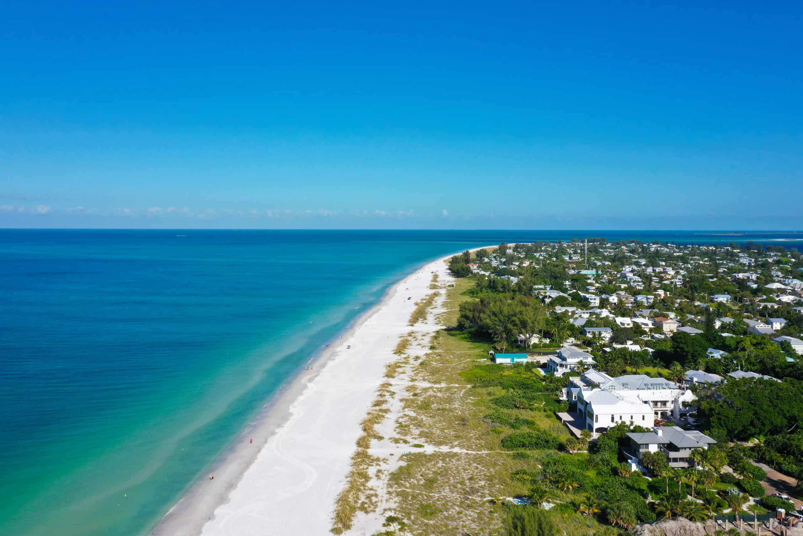 An Aerial View of the Beautiful White Sand Beach on Anna Maria Island, Florida