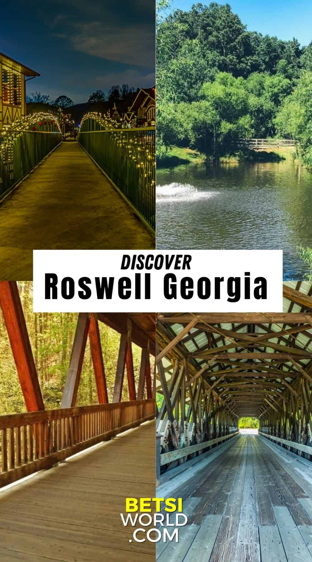 Christmas lights on a bridge, view of water under a bridge with green trees around, and two walking bridges. Discover Roswell, Georgia