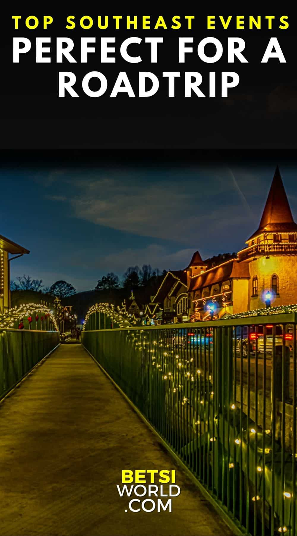 Christmas lights on bridge in the Southeast. Top Southeast Events Perfect For A Roadtrip