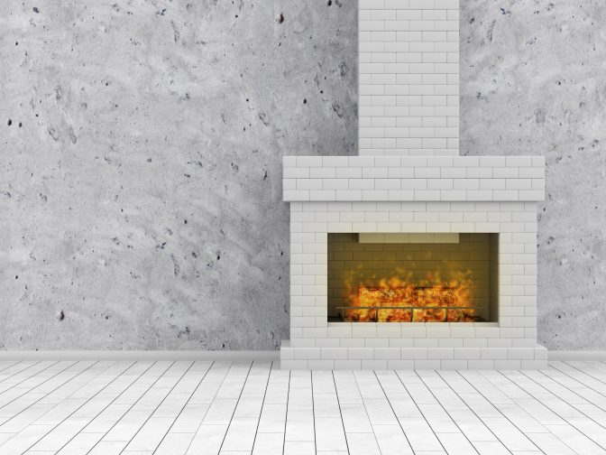 a fireplace with white brick, easily update your home by replacing or painting the fireplace