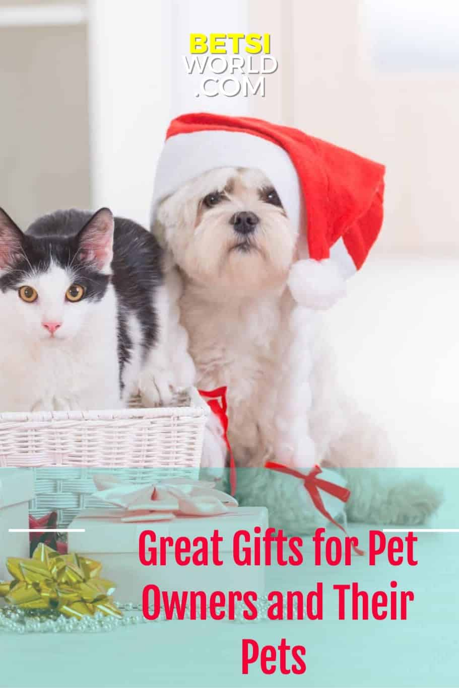 White and black cat and white dog with red and white santa hat. Great gifts for pet owners.