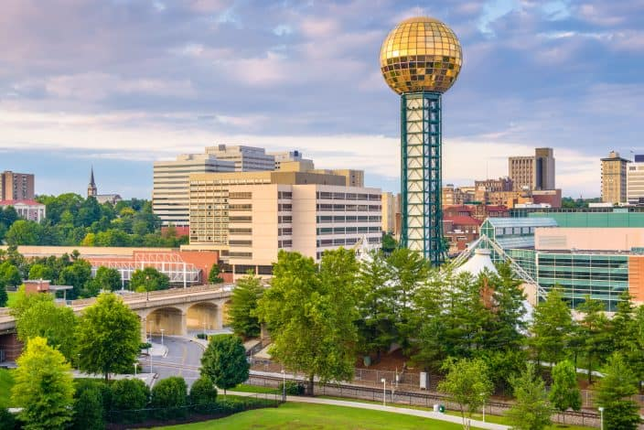 view from the sunset sky of Knoxville Tennessee, a romantic getaway location for valentines day