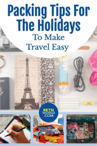 Packing tips and pictures of suitcases and items in a suitcase