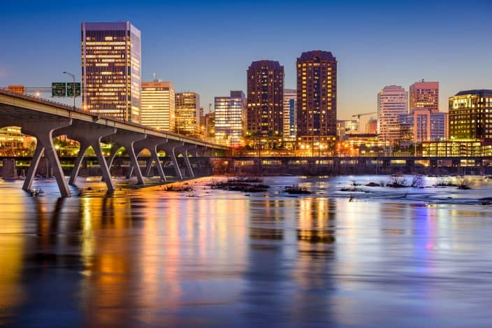 Richmond, Virginia, USA skyline on the James River. A beautiful spot for a Valentines romantic getaway