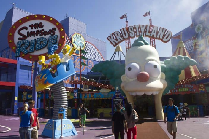 the simpsons ride at universal orlando studios, a theme park