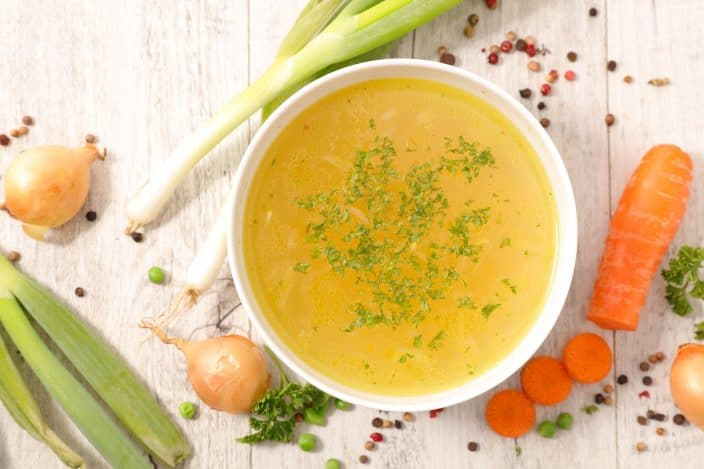 vegetable broth to be used in a slow cooker