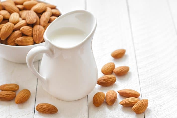 almond milk to be used for making rice pudding