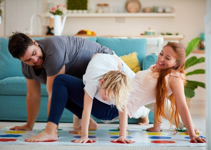 a family playing twister together