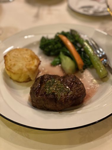 filet and scallop perfectly prepared pairs well with a champagne cocktail at Jacks Place, Rosen Plaza hotel