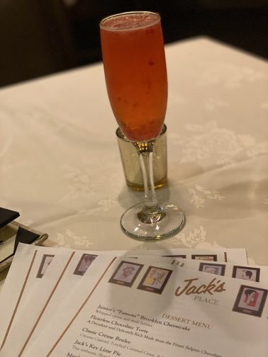 champagne cocktail at Jacks Place, The Rosen Plaza