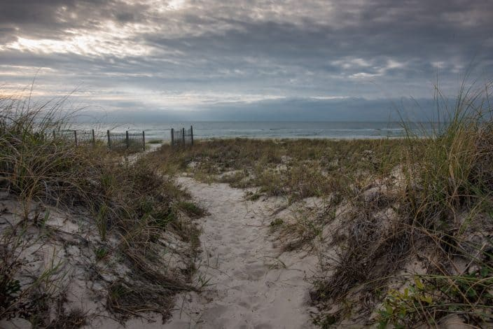 a walkway through the dunes on st. george beach with sea grass and dark skies