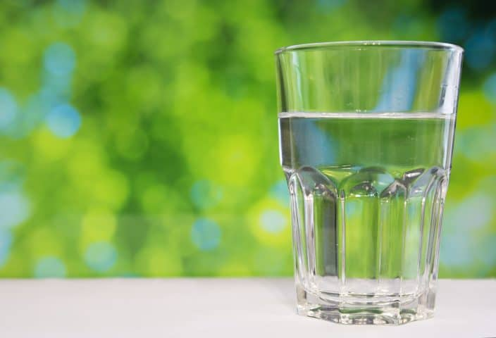 a water glass on the table
