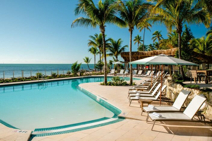 Pool view of the Cheeca Lodge and Spa Islamorada, the perfect place for a romantic spa weekend getaway