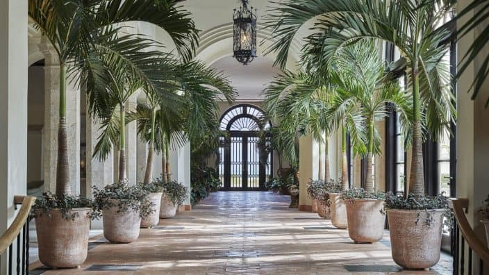 Palm trees in planters in the alley way inside the Four Seasons Hotel and Surf Club in Surfside, Florida, a top romantic getaway.