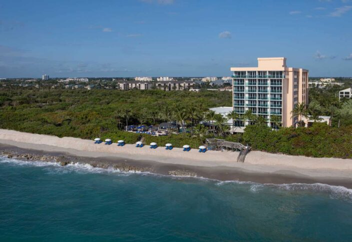 Jupiter beach resort and spa aerial view of the hotel, a perfect place for a romantic weekend getaway