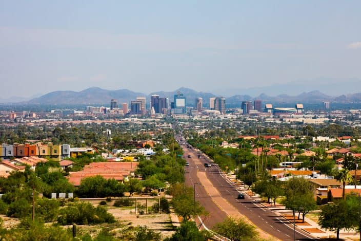 Aerial view of phoenix Arizona, one of the best cities to retire in