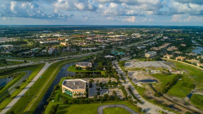 Aerial drone image of Port St Lucie Florida USA, one of the best cities to retire in Florida