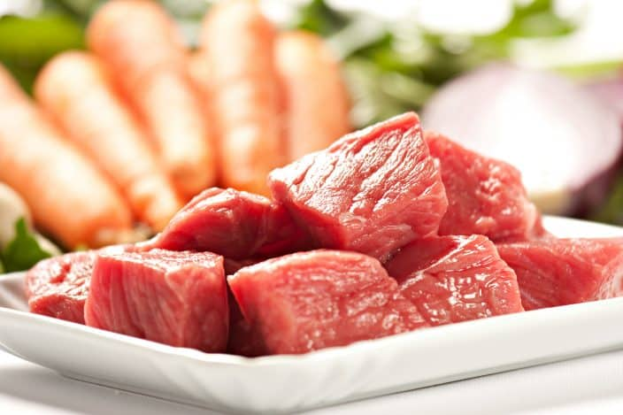 raw stew beef for making beef and rice