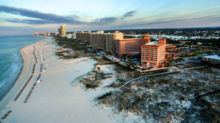 aerial view of the shoreline and beach front of orange beach, Alabama hotels