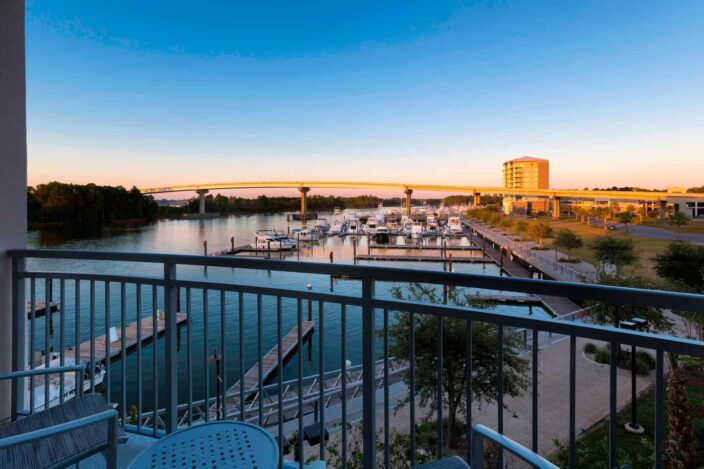 view of the wharf from the balcony of an orange beach, Alabama hotel