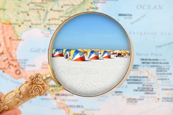 map with beach and beach chairs for Clearwater Beach, Florida