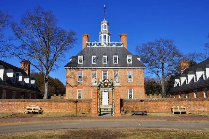 The governors palace in Colonial Williamsburg, an example of a family friendly vacation destination