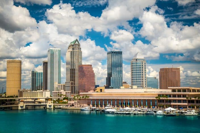 Tampa cityscape and skyline with Tampa river
