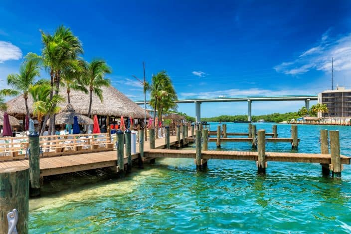 restaurant and dock on Key Largo, a great day trip from Fort Lauderdale