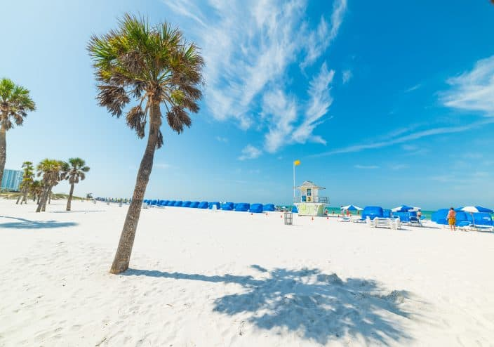 Clearwater beach with green palm trees, blue beach umbrellas, white sand, blue skies, and a life guard stand, an example of things to do in Clearwater Beach