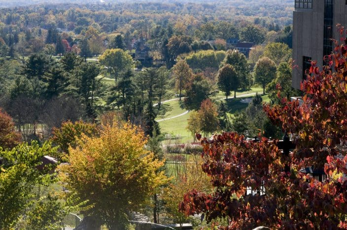 aerial view of a park in Asheville, North Carolina with green grass, autumn foliage on the trees, a stone building on the right and the sun shining through in the background, an example of romantic getaways for the weekend
